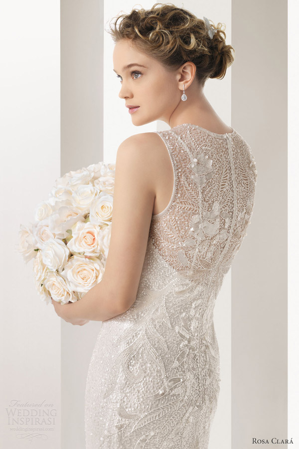 rosa clara bridal 2014 soft ulric sleeveless high neck beaded sheath wedding dress illusion portrait back
