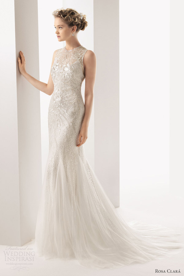 rosa clara bridal 2014 soft ulric sleeveless high neck beaded sheath wedding dress
