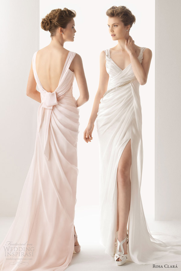 rosa clara color wedding dresses 2014 soft utrer sleeveless gown straps draped