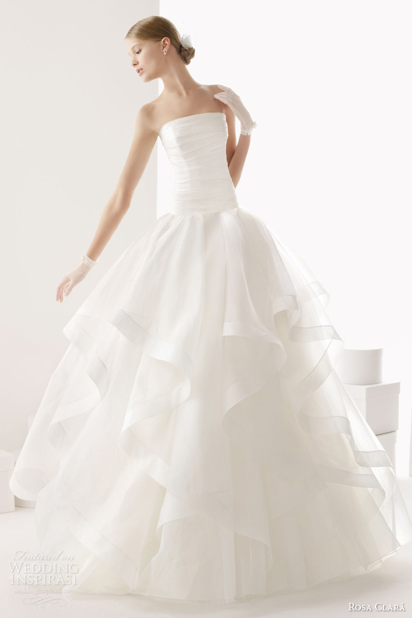 rosa clara wedding dresses 2014 bridal cava strapless gown tier horsehair skirt