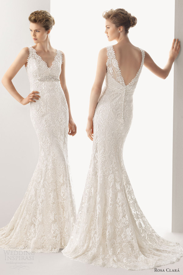 rosa clara wedding dresses 2014 urbe guipure lace sleeveless sheath gown