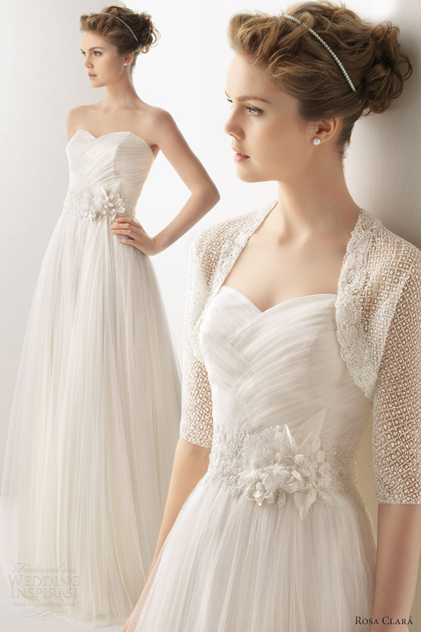 by rosa clara 2014 bridal unico wedding dress strapless bolero jacket