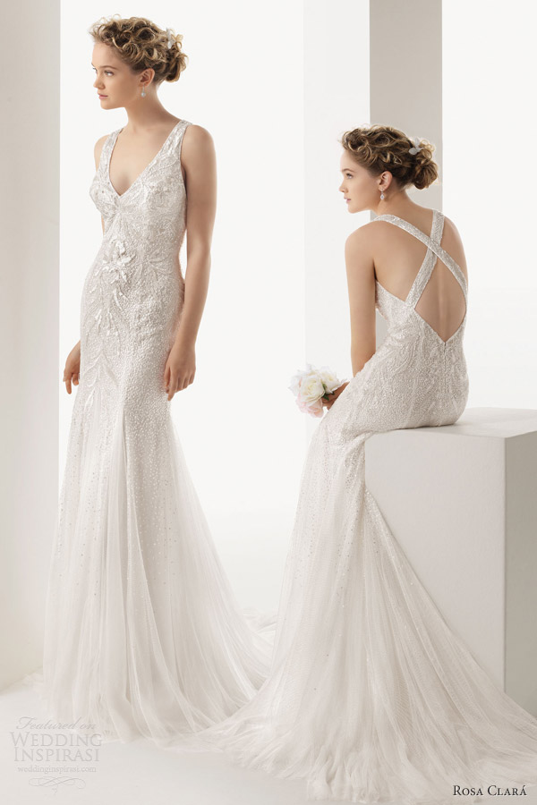 soft by rosa clara 2014 ulema sleeveless sheath wedding dress beaded cross back