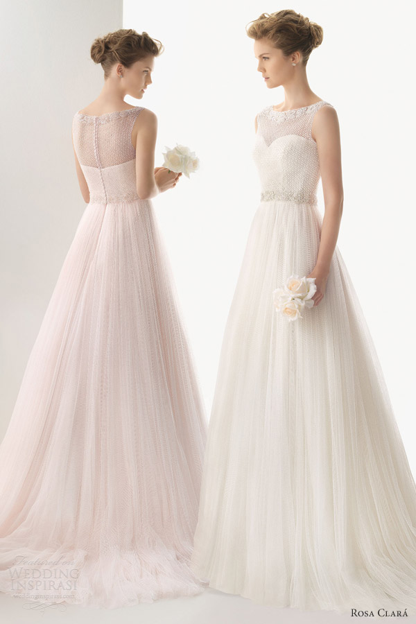 soft by rosa clara 2014 umara pink white ivory wedding dress sleeveless bateau boat neck romantic