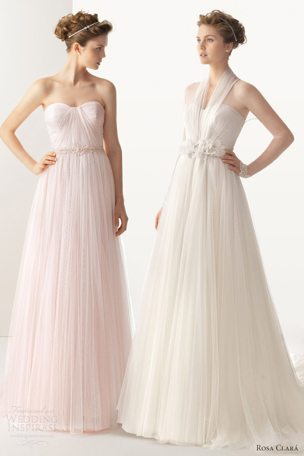 soft by rosa clara 2014 ural strapless gown pink white ivory wedding dress