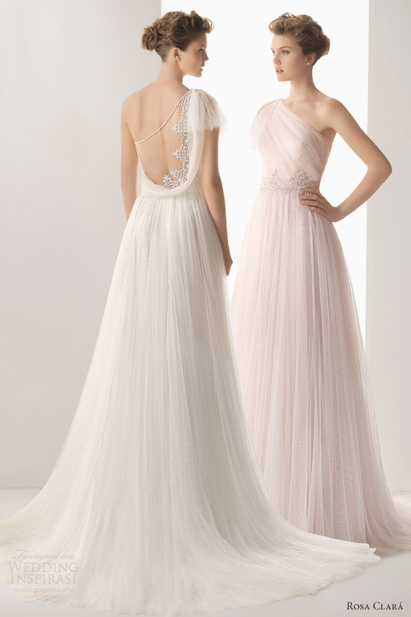soft by rosa clara 2014 wedding dresses umbra one shoulder gown lace back detail