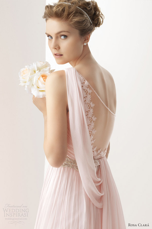 soft by rosa clara color wedding dresses 2014 ursina pink white ivory one shoulder draped gown illusion back