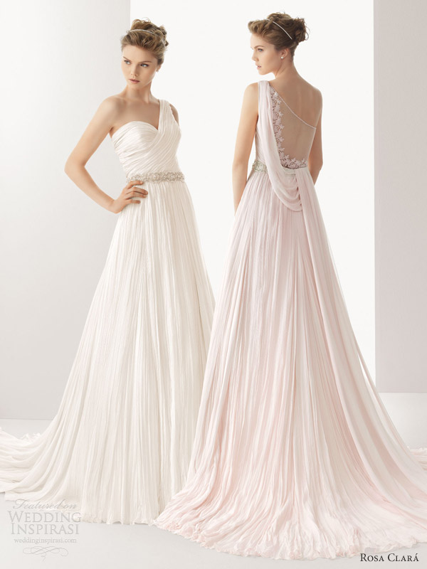 soft by rosa clara color wedding dresses 2014 ursina pink white ivory one shoulder draped gown