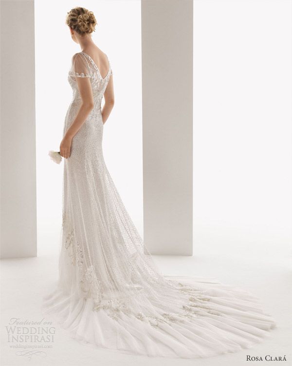 soft by rosa clara wedding dresses 2014 ulises flutter sleeve beaded bridal gown back train