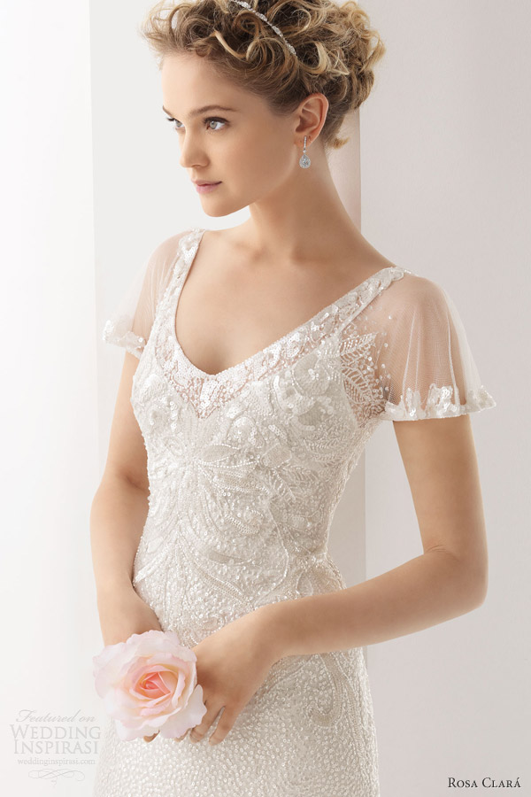 ... shoulder gown. Below, Ulises beaded dress with sheer flutter sleeves