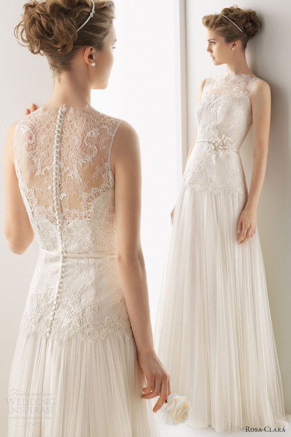 soft by rosa clara wedding dresses 2014 unicor sleeveless lace illusion neckline gown