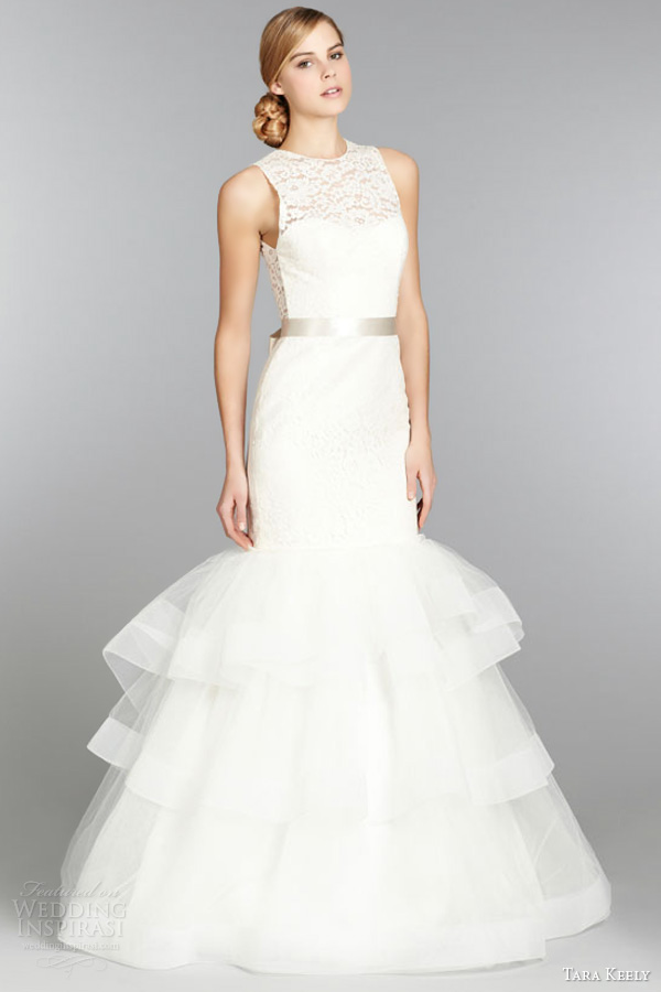 tara keely fall 2013 bridal lace fit flare wedding gown style 2354