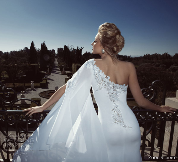 zoog bridal 2013 one shoulder wedding dress back