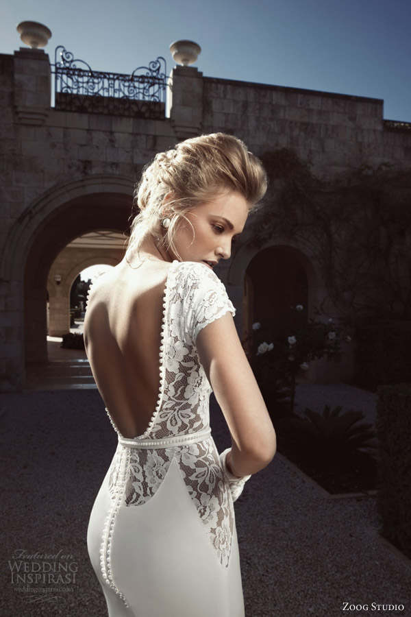zoog bridal 2013 short sleeve wedding dress open back