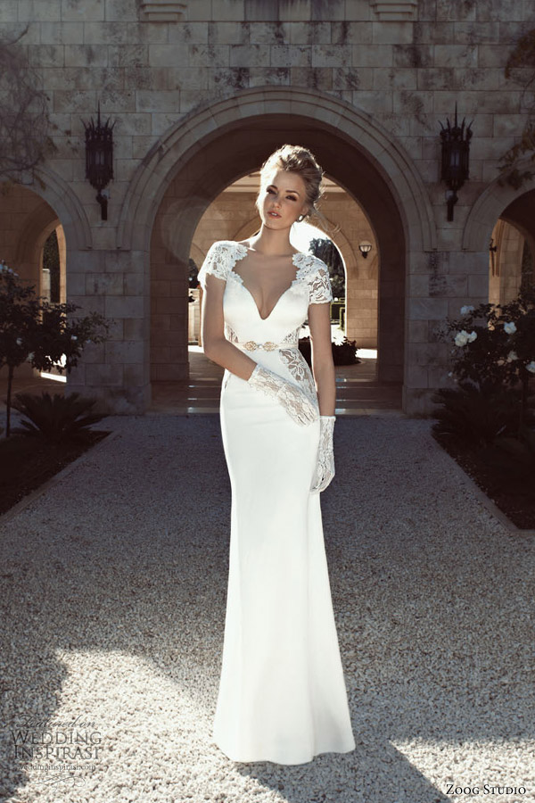 zoog bridal 2013 short sleeve wedding dress