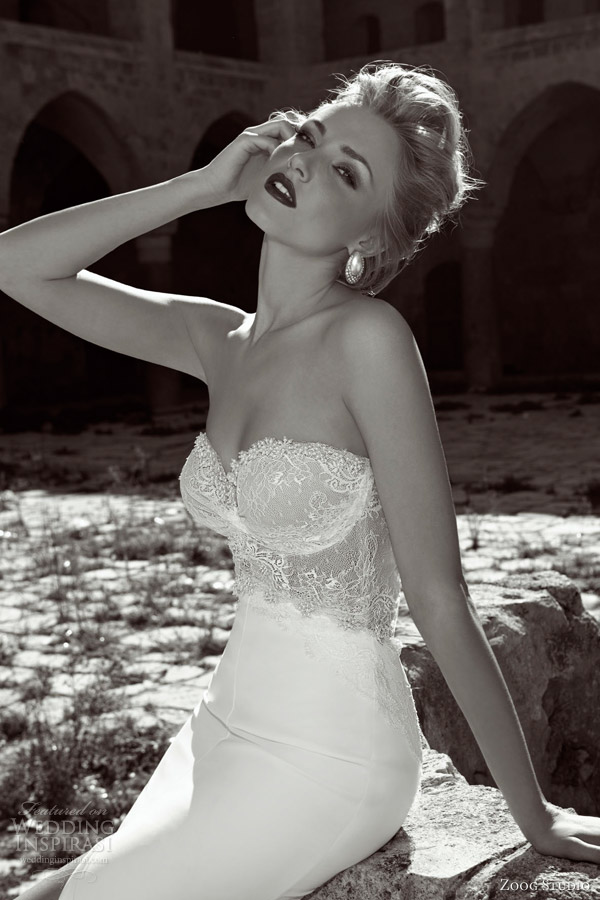 zoog bridal 2013 strapless wedding dress lace bodice close up