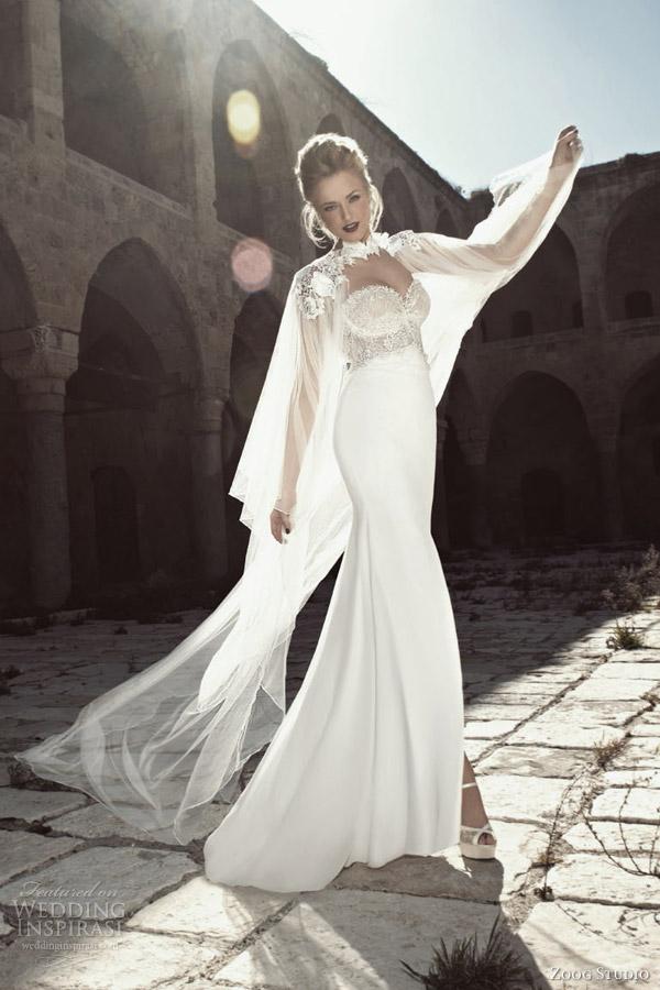 zoog bridal 2013 strapless wedding dress lace bodice sheer cape