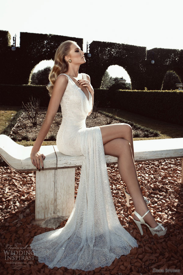 zoog studio 2013 bridal sleeveless sequin sheath slit cowl neckline