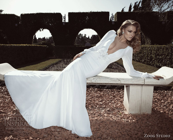 zoog studio bridal 2013 long puff sleeve wedding dress plunging deep v neckline