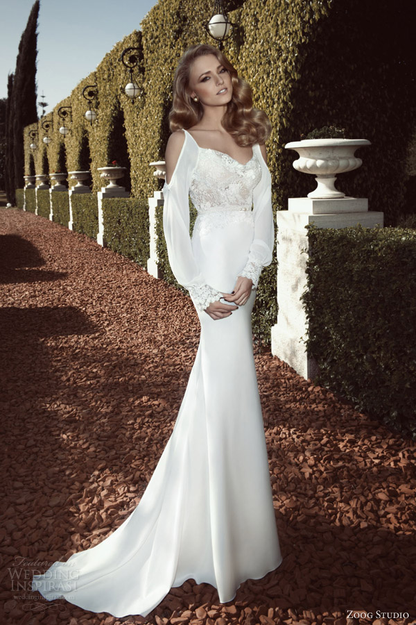 Zoog Studio Bridal 2017 Long Sleeve Wedding Dress Cutout Shoulders