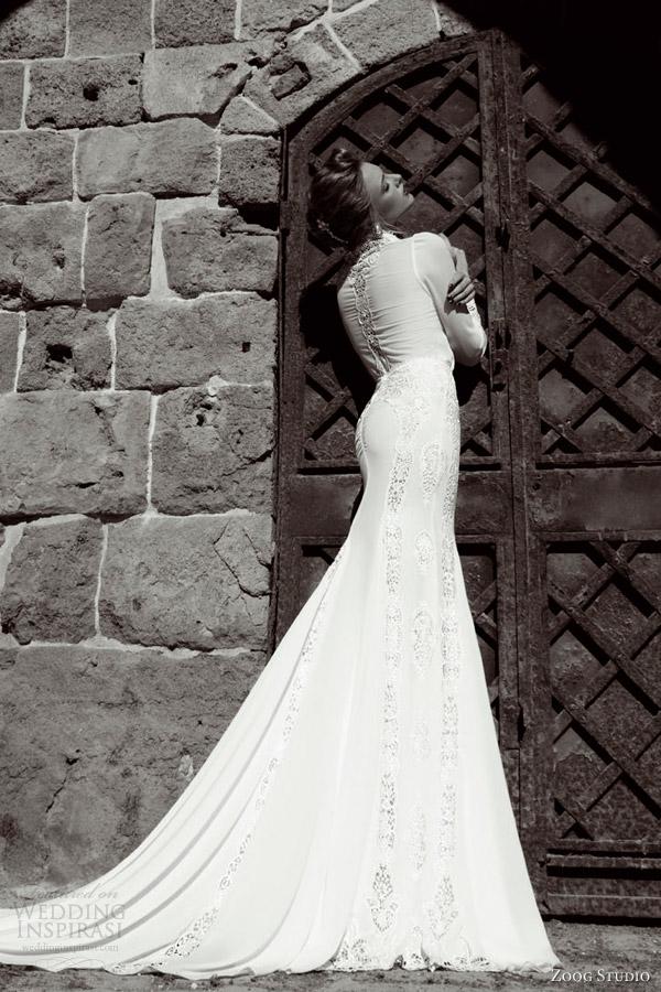 zoog studio bridal 2014 long sleeve wedding dress back