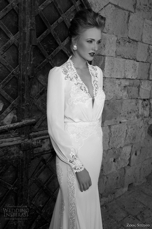 zoog studio bridal 2014 long sleeve wedding dress lace bodice close up