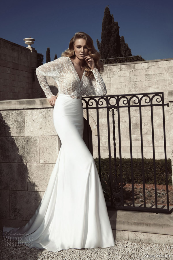 zoog studio wedding dresses 2013 long sleeve dolman batwing surplice gown