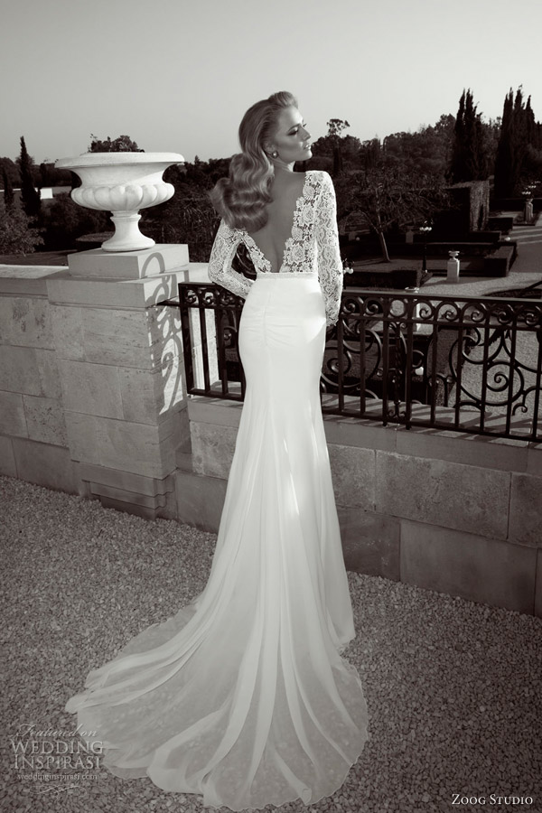 zoog studio wedding dresses 2013 long sleeve sheath bridal gown guipure lace bodice deep v back