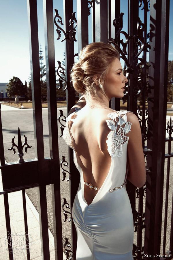 zoog studio wedding dresses 2013 plunging back