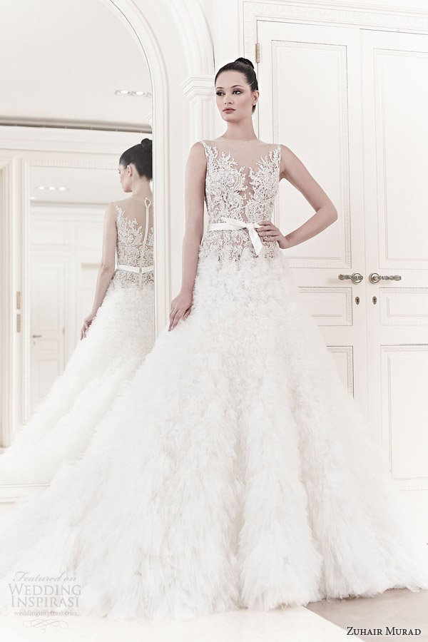 zuhair murad 2014 bridal elsa sleeveless illusion bodice wedding dress