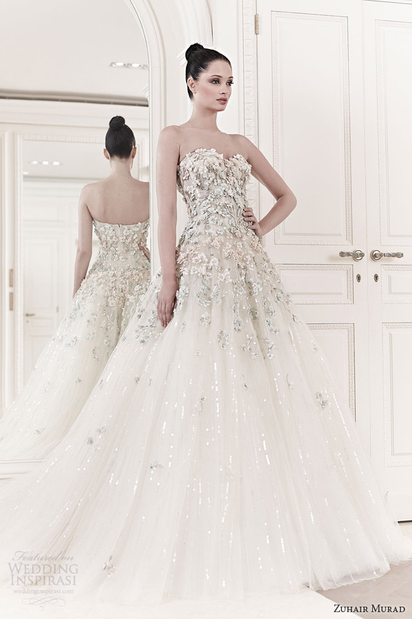 zuhair murad 2014 princess wedding dresses tiana strapless sweetheart floral applique wedding gown