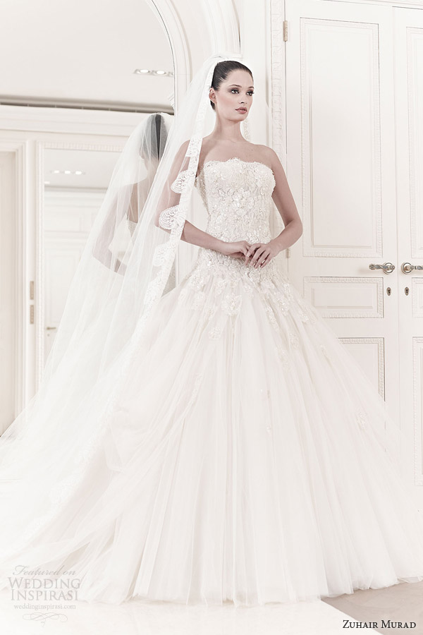 zuhair murad bridal 2014 amelia strapless drop waist ball gown wedding dress