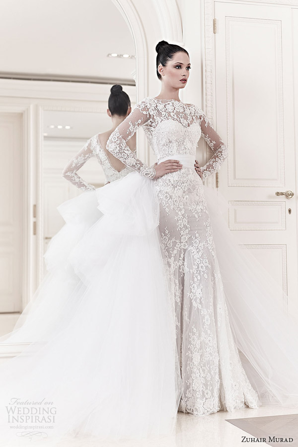 zuhair murad bridal 2014 diana long sleeve lace wedding dress tulle ball gown over skirt