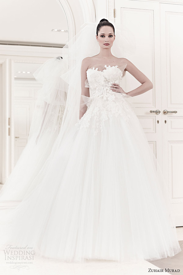 zuhair murad bridal spring 2014 faun strapless mini wedding dress ball gown over skirt