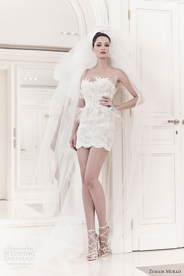 zuhair murad bridal spring 2014 faun strapless mini wedding dress
