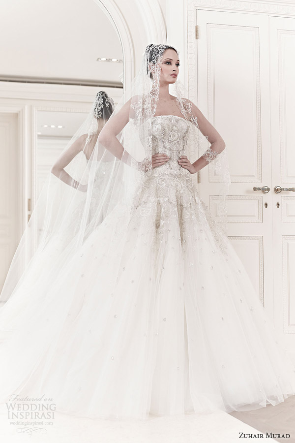 zuhair murad spring 2014 bridal emma strapless wedding dress veil