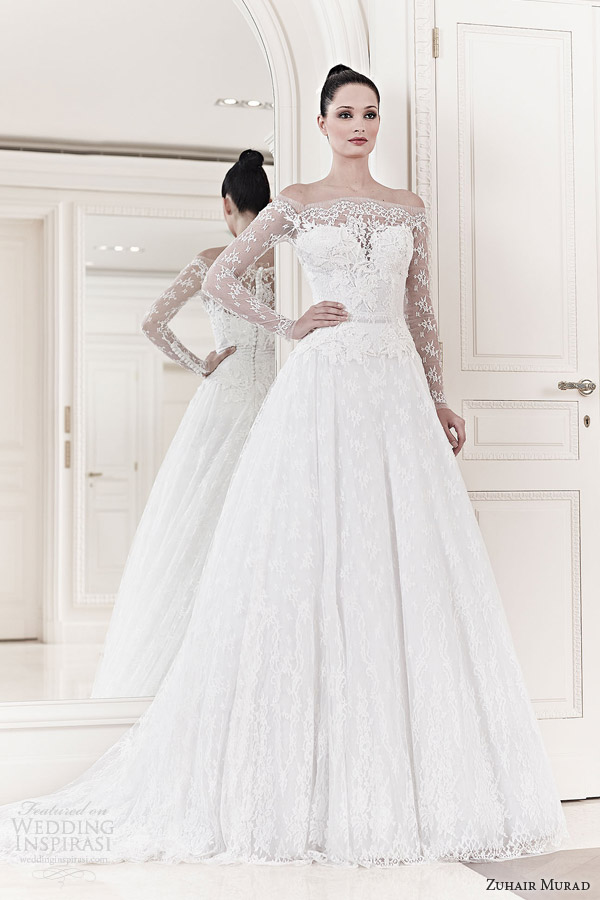 zuhair murad wedding dresses 2014 bridal aurora off shoulder illusion long sleeve wedding dress