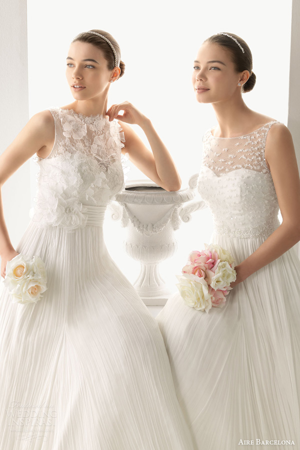 aire barcelona 2014 bridal octubre oda sleeveless crinkle chiffon wedding dresses