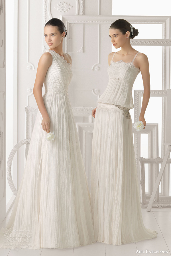aire barcelona 2014 bridal odalisca odesa crinkle chiffon wedding gowns ruched
