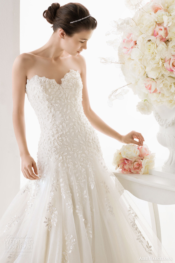 aire barcelona 2014 bridal odisea strapless wedding dress
