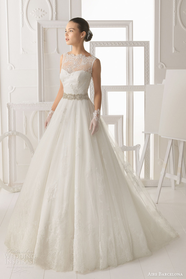 aire barcelona 2014 bridal omero sleeveless illusion lace neck wedding dress