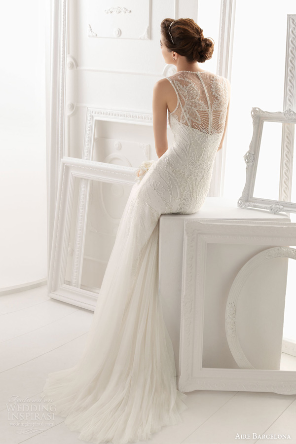 aire barcelona 2014 bridal omeya sleeveless beaded wedding dress back