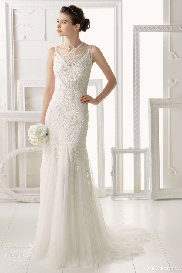 aire barcelona 2014 bridal omeya sleeveless beaded wedding dress
