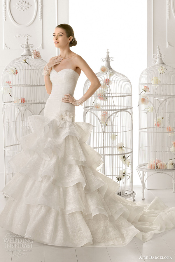 aire barcelona 2014 bridal oporto strapless mermaid rufffle wedding dress