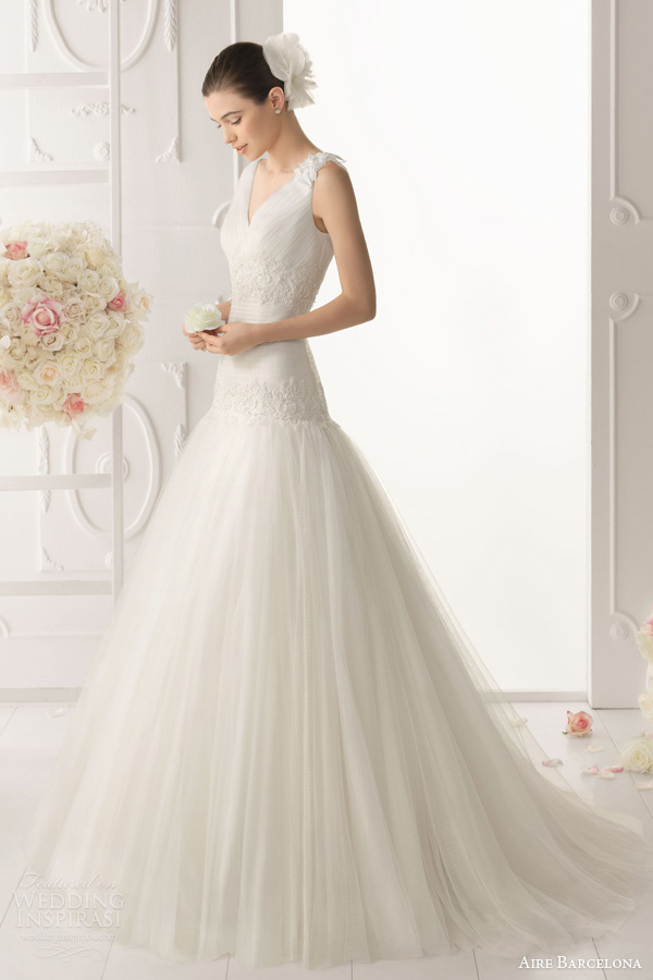 aire barcelona 2014 oboe sleeveless drop waist wedding dress