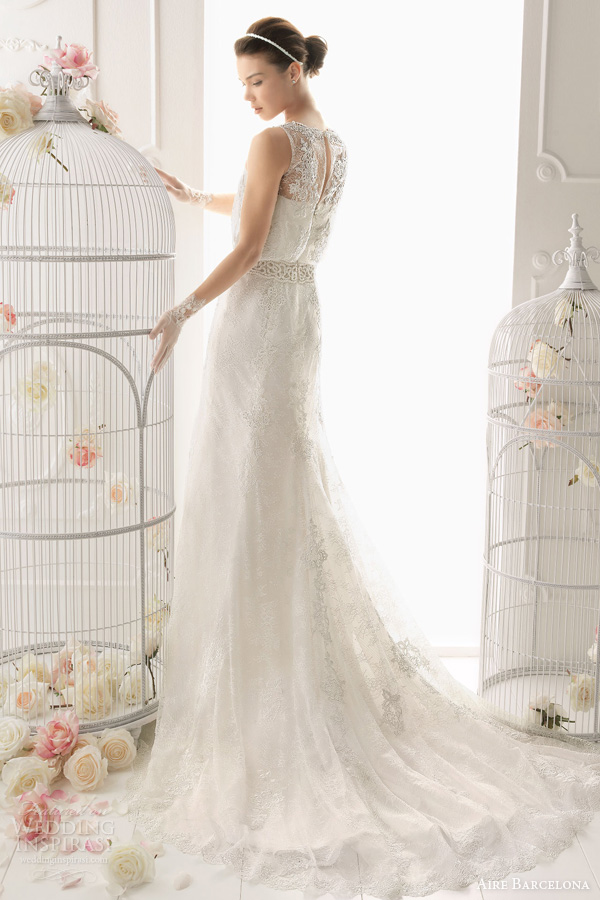 aire barcelona 2014 odette sleeveless lace blouson wedding dress back train