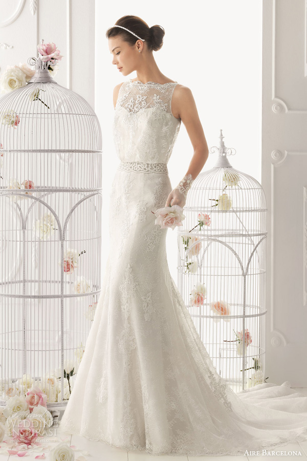 aire barcelona 2014 odette sleeveless lace blouson wedding dress