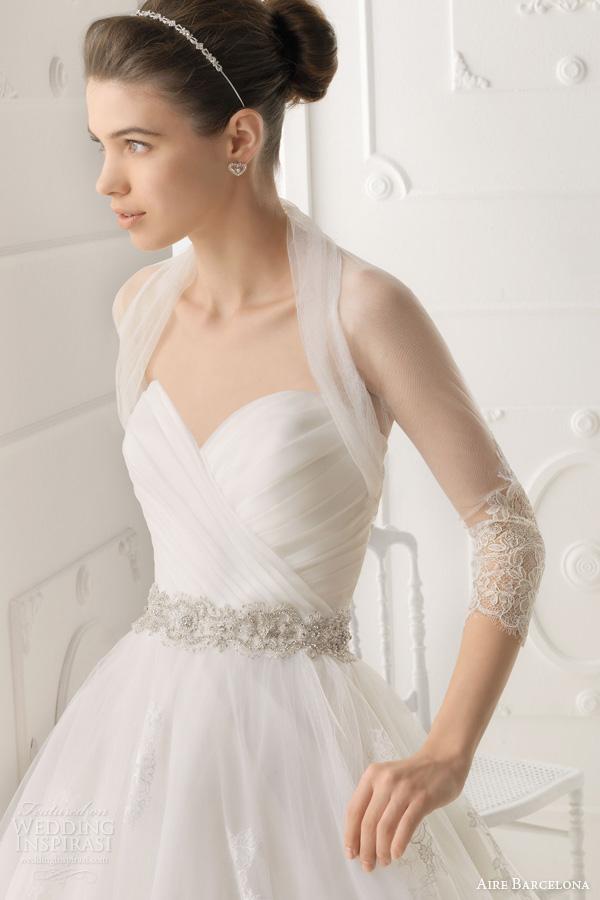 Aire Barcelona 2017 Omega Strapless Wedding Dress Tulle Bolero Shrug Jacket