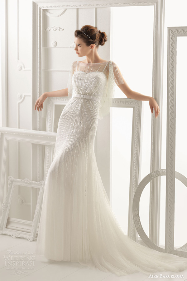 aire barcelona 2014 oneida beaded gown flutter sleeves