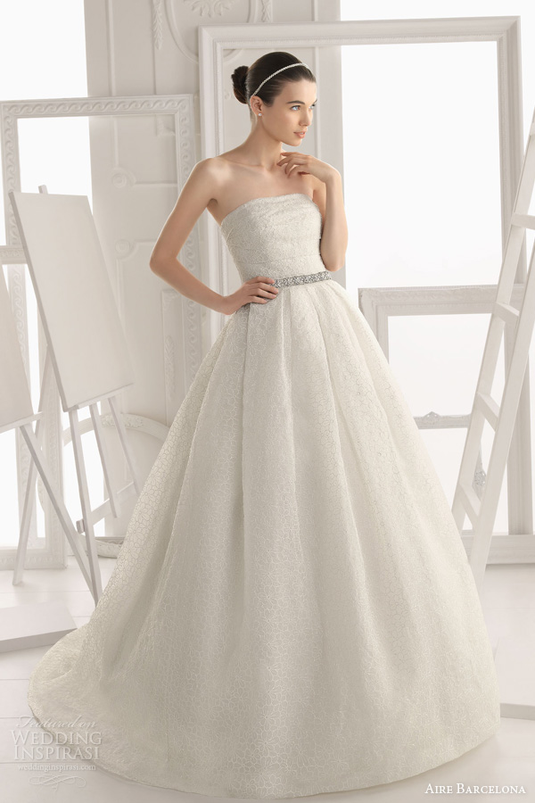 aire barcelona 2014 original wedding dress strapless ball gown